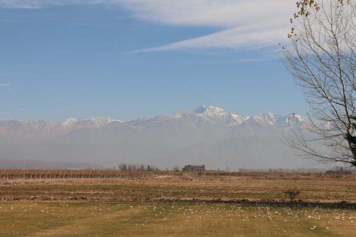 Ruca Malen com vista para o vulcão Tupungato